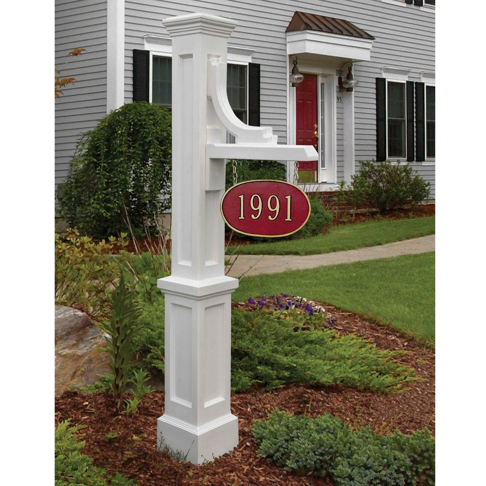 Mayne Woodhaven Address Sign Post in White