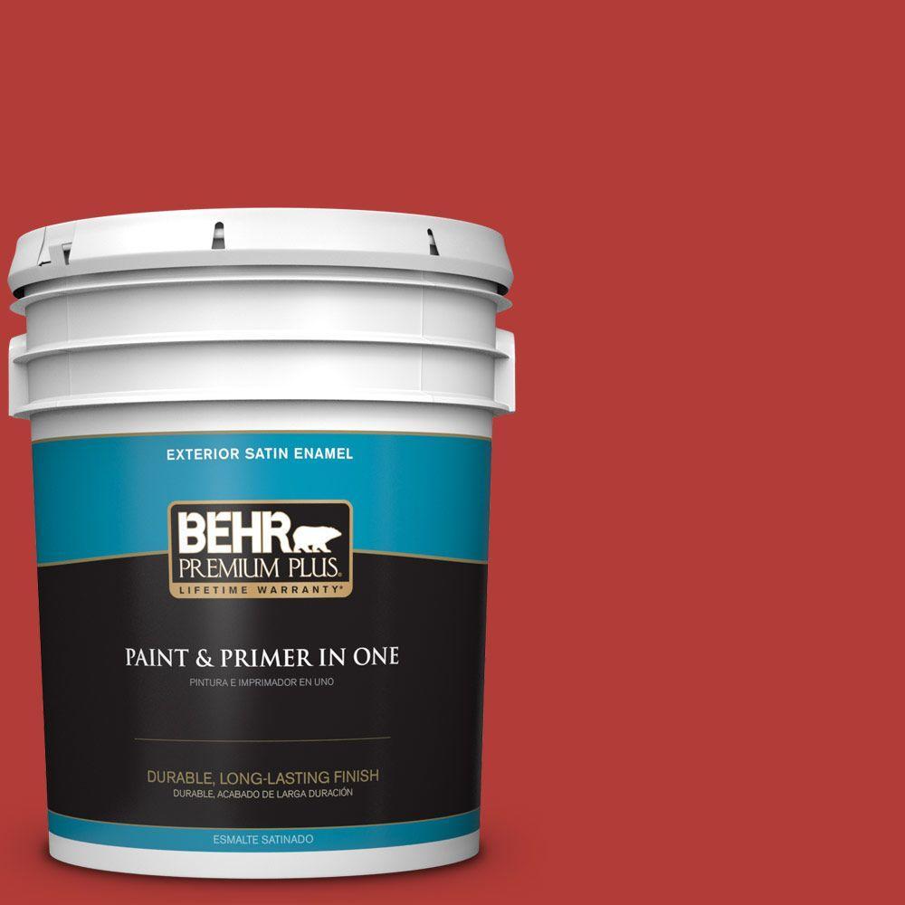 BEHR Premium Plus 5-gal. #PMD-85 Crimson Silk Satin Enamel Exterior Paint
