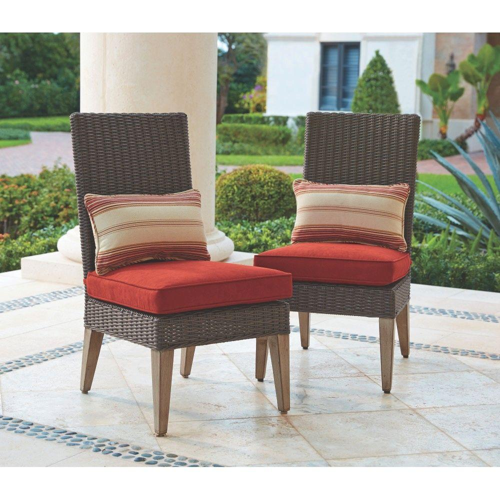Home Decorators Collection Naples Brown All Weather Wicker Outdoor Armless Dining Chairs Withe Cushions
