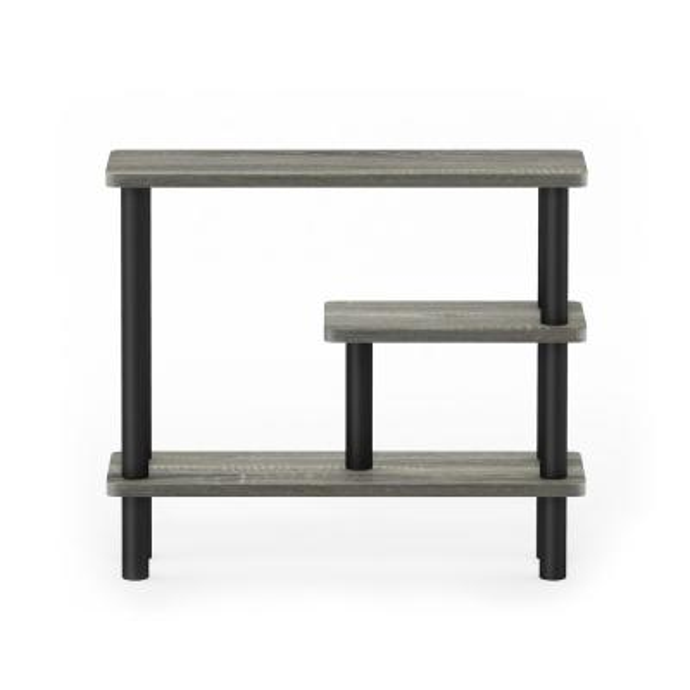 Turn-N-Tube 18.35 in. French Oak Gray/Black Plastic 3-shelf Etagere Bookcase with Open Back