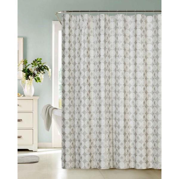 Dainty Home Twilight 70 in. Silver Shower Curtain