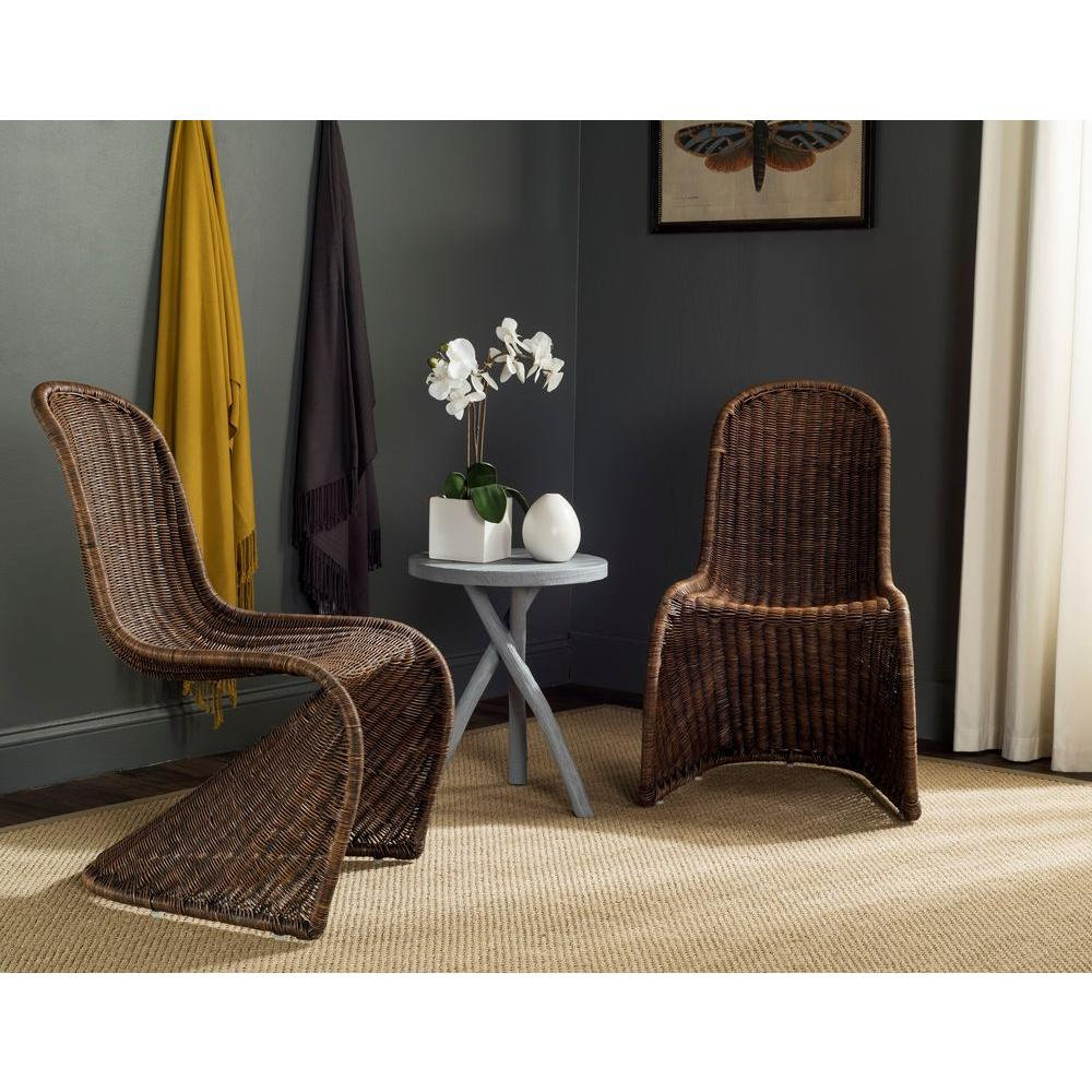 safavieh tana brown rattan dining chair set of 2