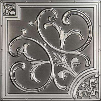 Lilies and Swirls 2 ft. x 2 ft. PVC Lay-in or Glue-up Ceiling Panel in Antique Silver (100 sq. ft. / case)