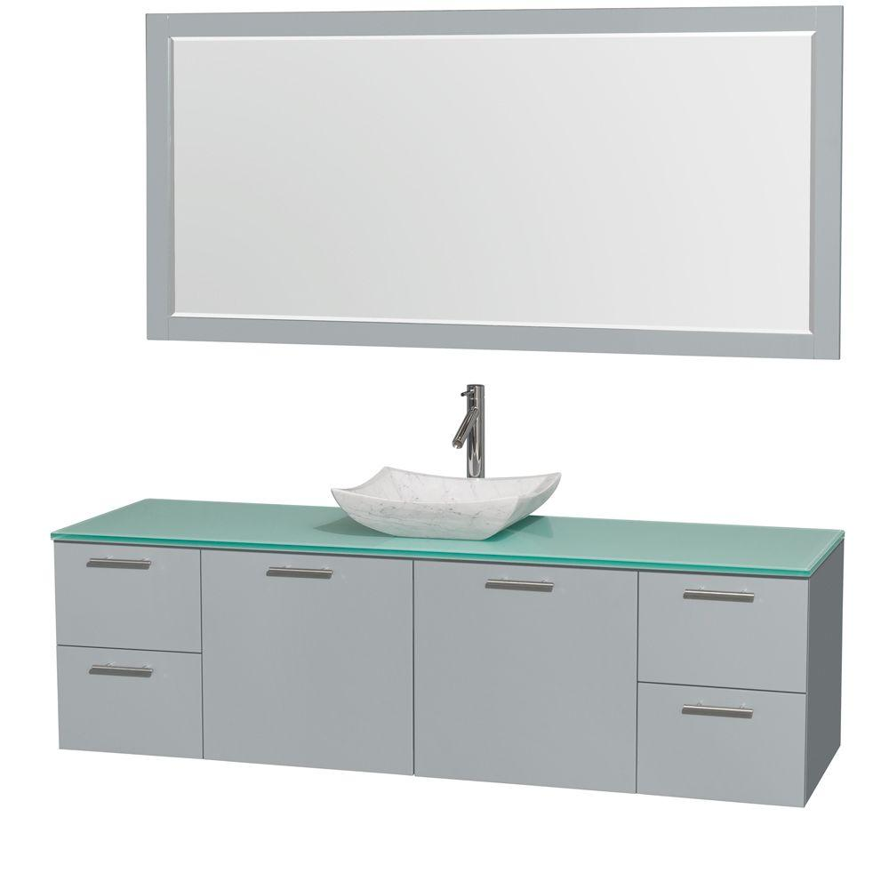 Wyndham Collection Amare 72 in. W x 22 in. D Vanity in Dove Gray with Glass Vanity Top in Green with White Basin and 70 in. Mirror
