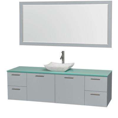 Amare 72 in. W x 22 in. D Vanity in Dove Gray with Glass Vanity Top in Green with White Basin and 70 in. Mirror