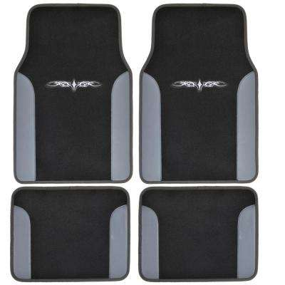 Tattoo Design MT-201 Gray Carpet With PU Leather 4-Piece Car Floor Mats