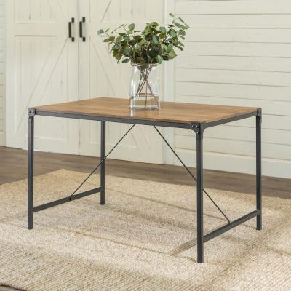 "48"" Industrial Angle Iron Wood Dining Table - Barnwood"