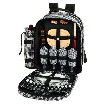Deluxe Equipped 4-Person Picnic Backpack in Houndstooth