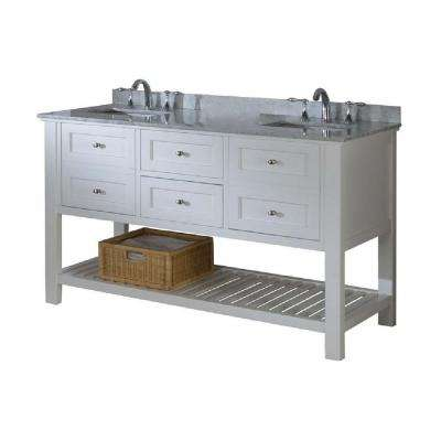 Mission Spa 60 in. Double Vanity in Pearl White with Marble Vanity Top in Carrara White