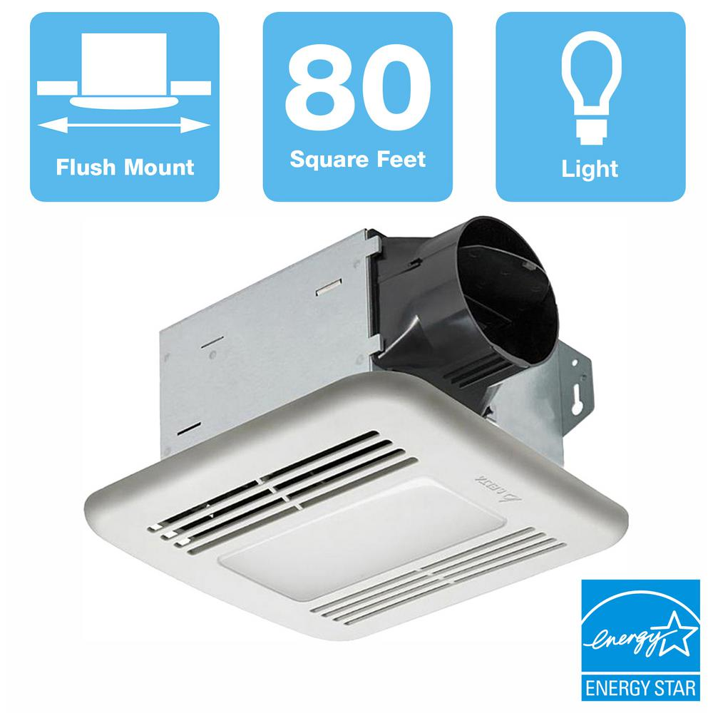 Delta Breez 80 CFM Ceiling Bathroom Exhaust Fan with Dimmable LED Light, ENERGY STAR