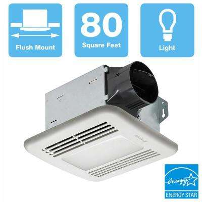 80 CFM Ceiling Bathroom Exhaust Fan with Dimmable LED Light, ENERGY STAR