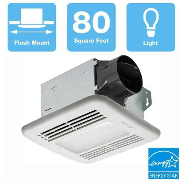 Integrity Series 80 CFM Ceiling Bathroom Exhaust Fan with Dimmable LED Light, ENERGY STAR