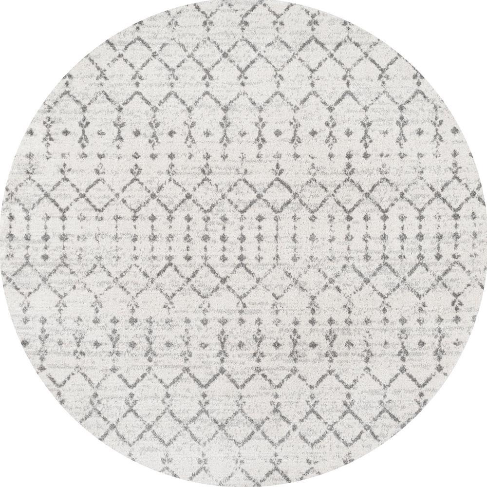 Moroccan Hype Boho Vintage Diamond Cream/Gray 5 ft. Round Area Rug