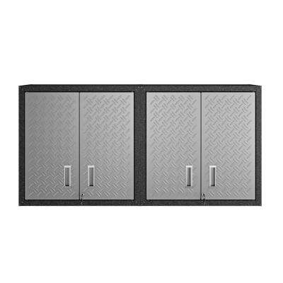 30.3 in. H x 30 in. W x 12.5 in. D Floating Textured Metal Freestanding Cabinet w/ Adjustable Shelves in Gray (Set of 2)