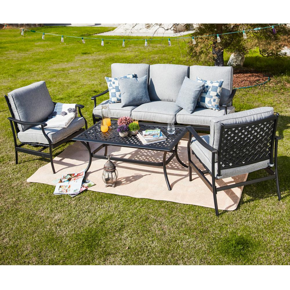 4 Piece Metal Patio Conversation Set With Gray Cushions