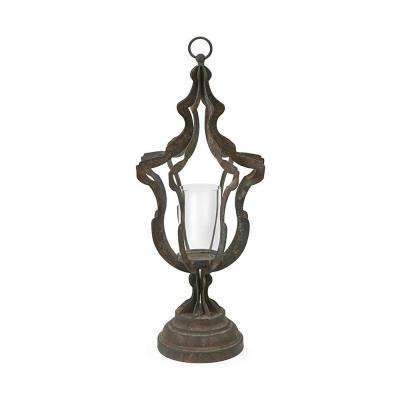 Owen 24.5 in. Distressed Black Scalloped Urn Candle Holder