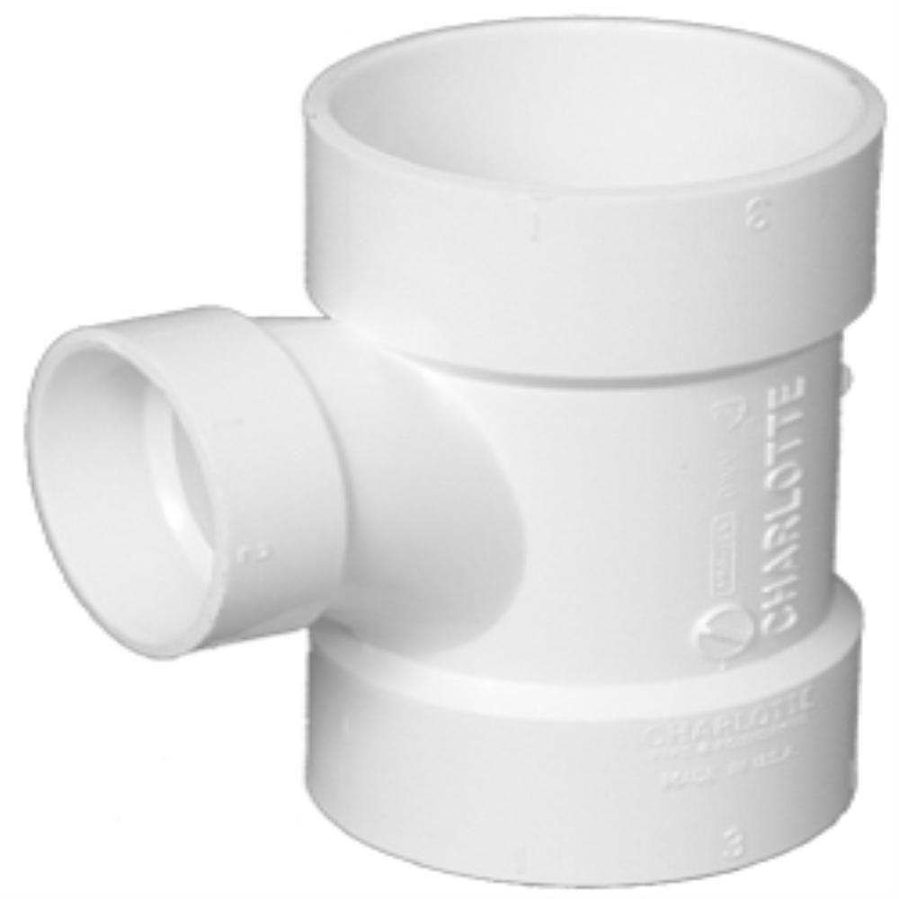 6 in. x 6 in. x 4 in. PVC DWV Hub x Hub Sanitary Tee Reducing