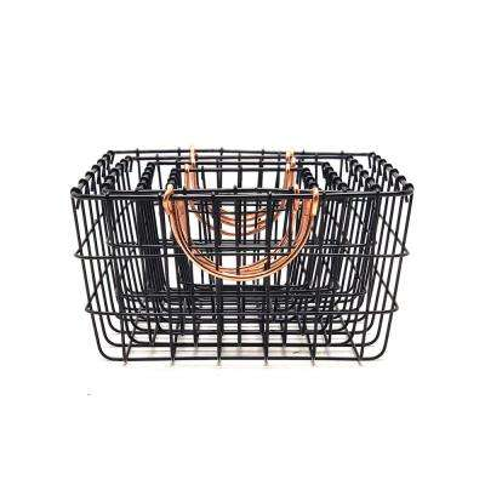 15.75 in. W x 11.75 in. D x 6.25 in. H Black Metal Rectangular Wire Baskets (Set of 4)
