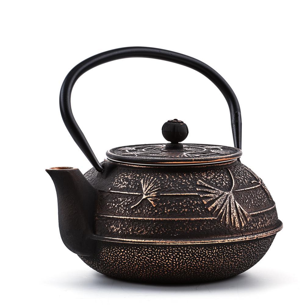 "2.75-Cups Black/Copper 22 oz. Cast Iron ""Ginkgo"" Teapot"