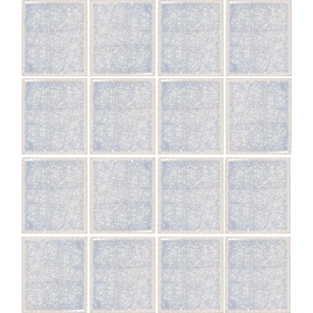 Epoch Architectural Surfaces Oceanz Arctic White-1727 Crackled Glass Mesh Mounted Tile - 3 in. x 3 in. Tile Sample