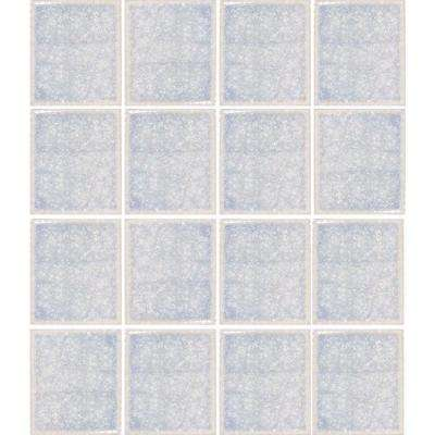 Oceanz Arctic White-1727 Crackled Glass Mesh Mounted Tile - 3 in. x 3 in. Tile Sample