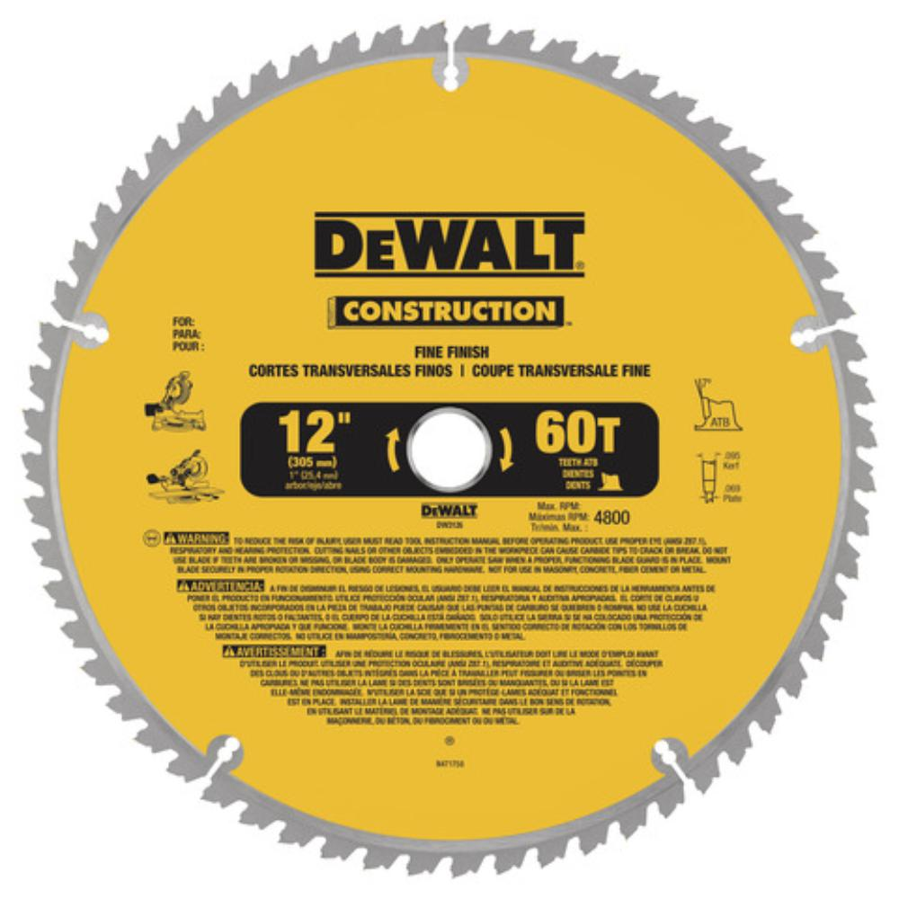 Dewalt 20 Series 12 In 60t Fine Finish Saw Blade Dw3126 The Home Depot