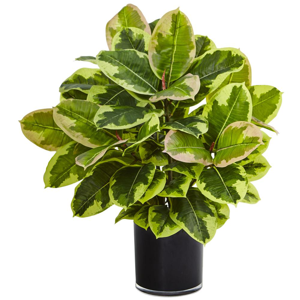 Nearly Natural Indoor Artificial Rubber Plant In Glossy Cylinder Real Touch 6952 The Home Depot