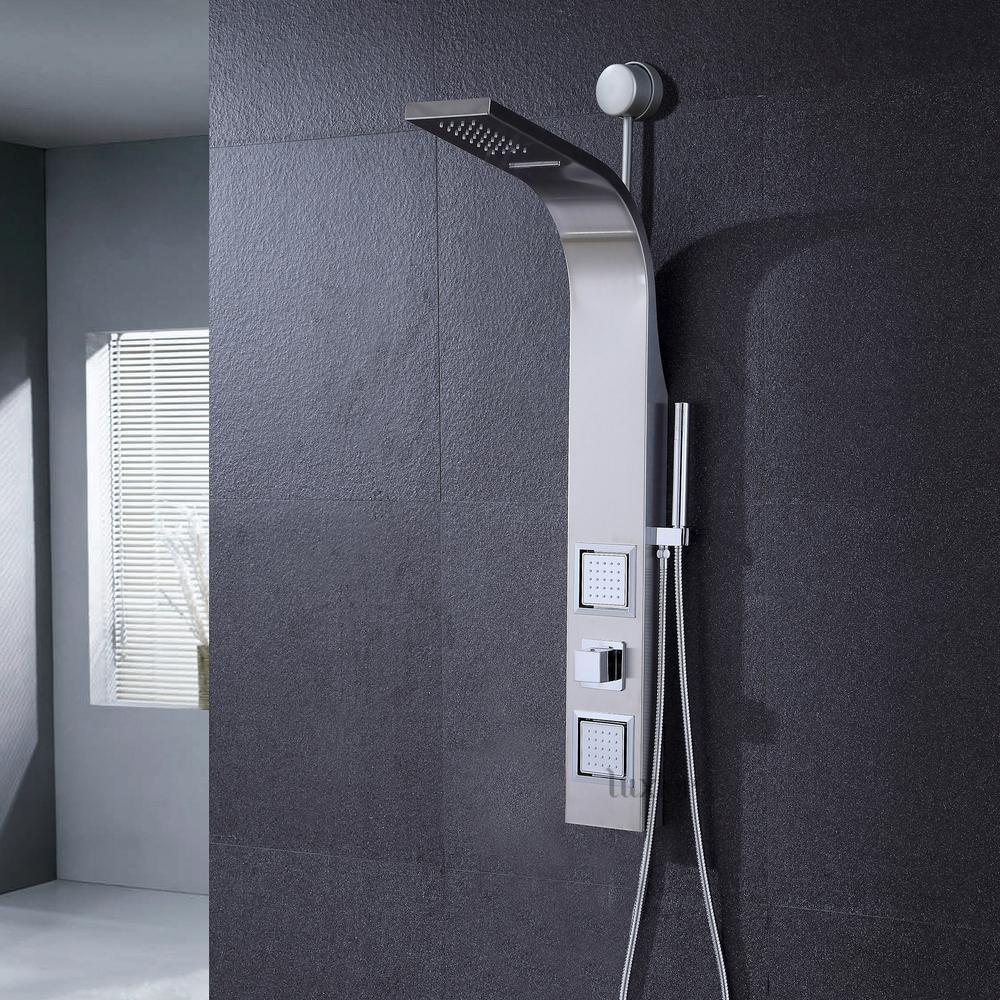 Luxier 41 Ez Connect Stainless Steel Rainfall Waterfall Shower Panel Tower Rain Mage System