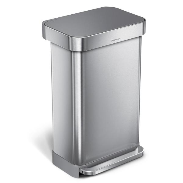 45 l Liner Rim Rectangular Step Trash Can, Brushed Stainless Steel with Grey Plastic Lid