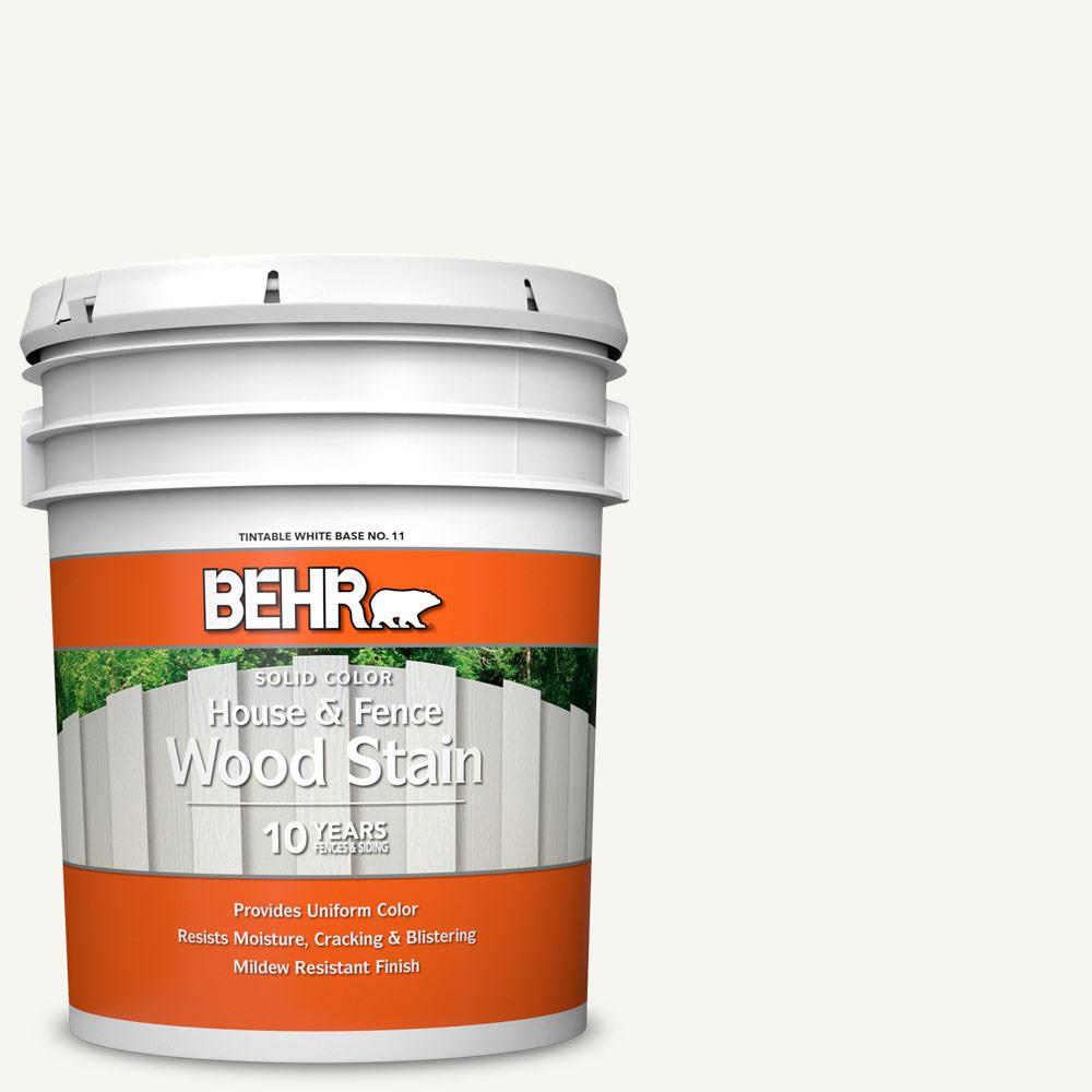 BEHR 5 gal. #SC-210 Ultra Pure White Solid Color House and Fence Exterior Wood Stain