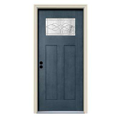 36 in. x 80 in. Denim Right-Hand 1-Lite Craftsman Carillon Stained Fiberglass Prehung Front Door with Brickmould