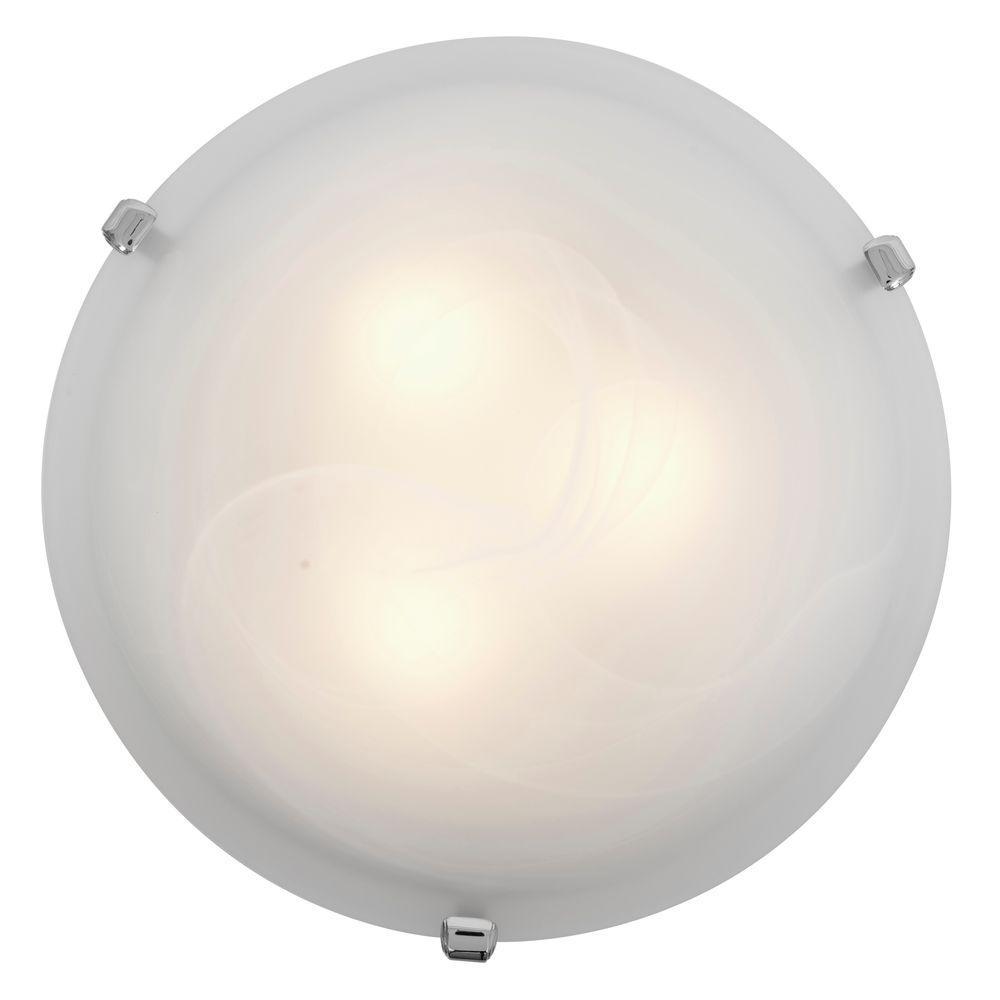 Mona 3-Light Chrome Flushmount with Alabaster Glass Shade