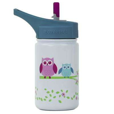 13 oz. Scout Kids Bottle with Straw Top - White with Owl