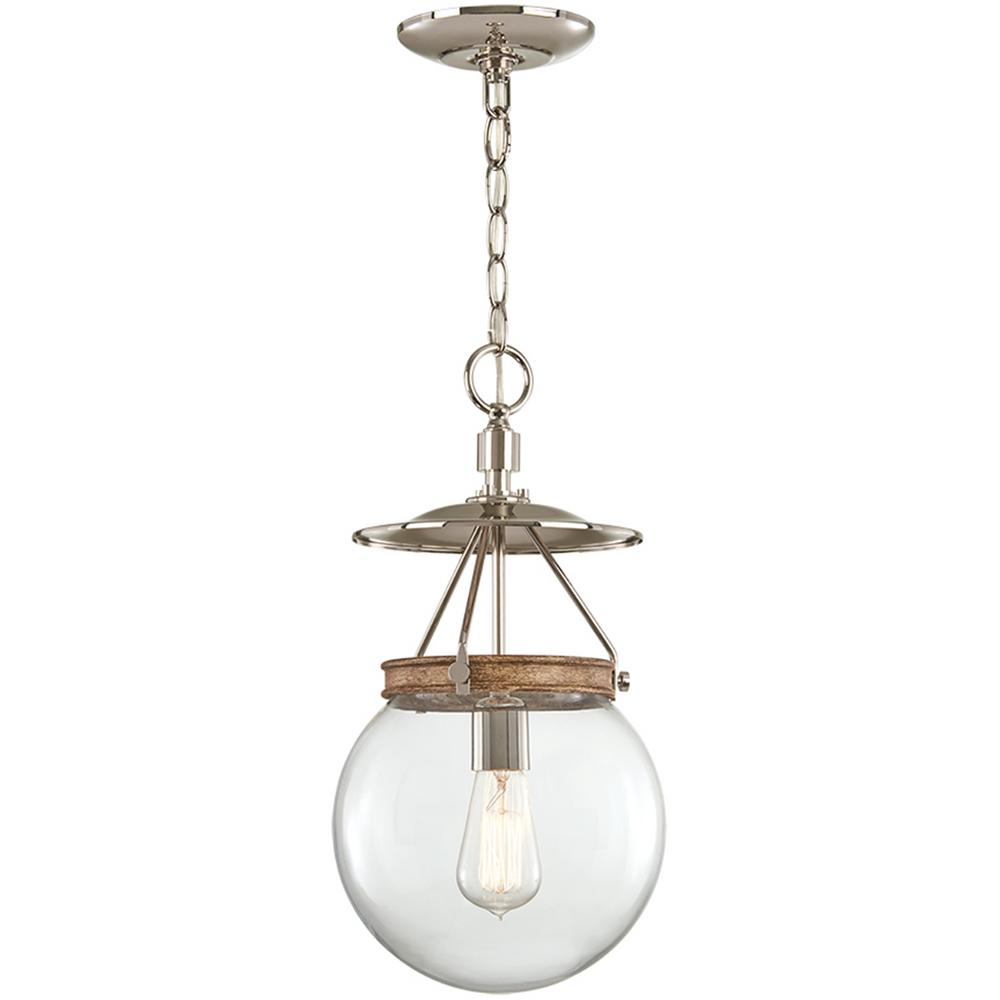 1-Light Polished Nickel and Corona Bronze Pendant with Clear Glass Shade
