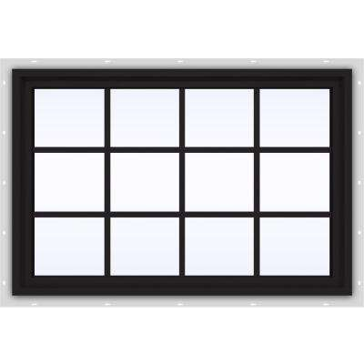 48 in. x 36 in. V-4500 Series Black FiniShield Vinyl Fixed Picture Window with Colonial Grids/Grilles
