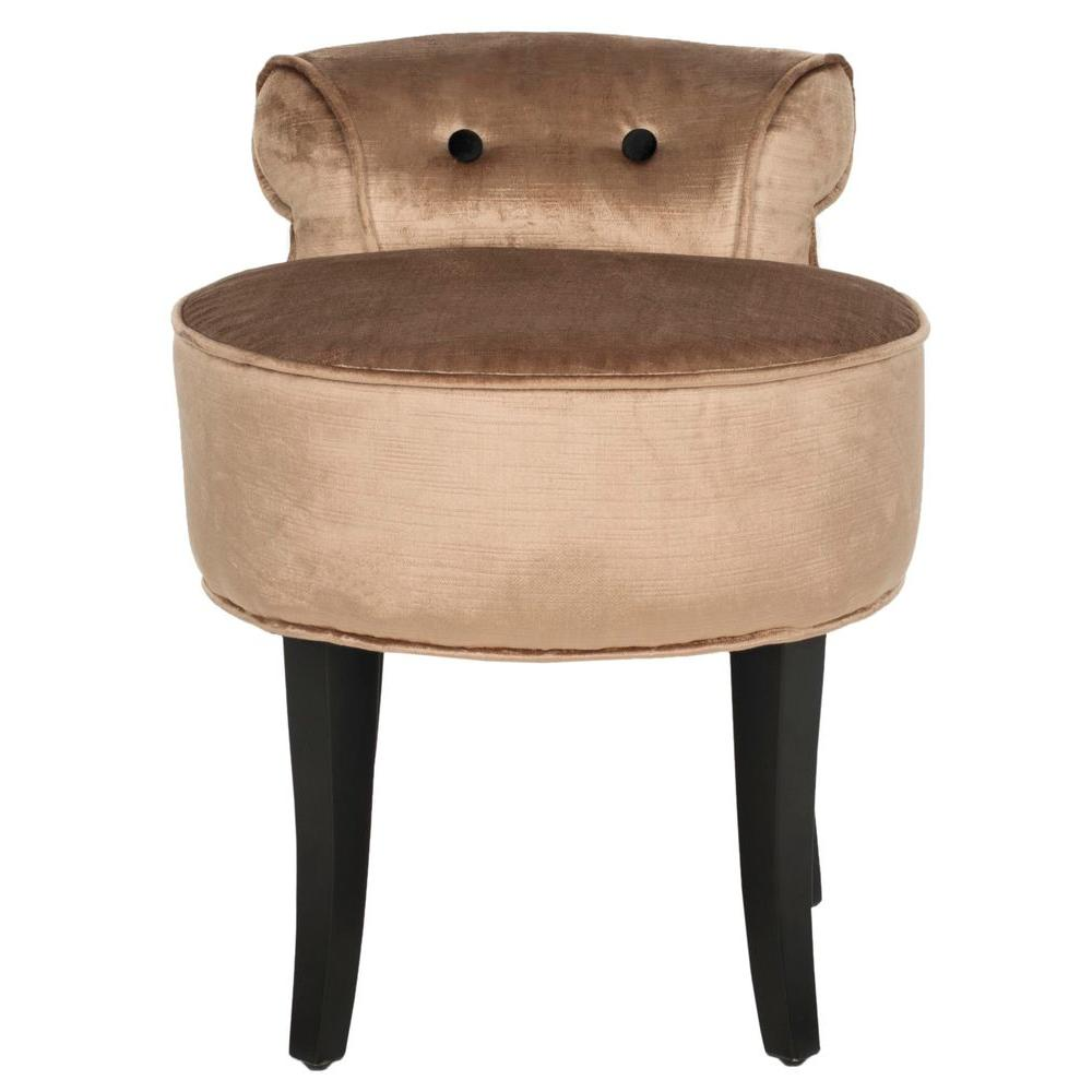 Georgia Mink Brown Cotton/Viscose Vanity Stool