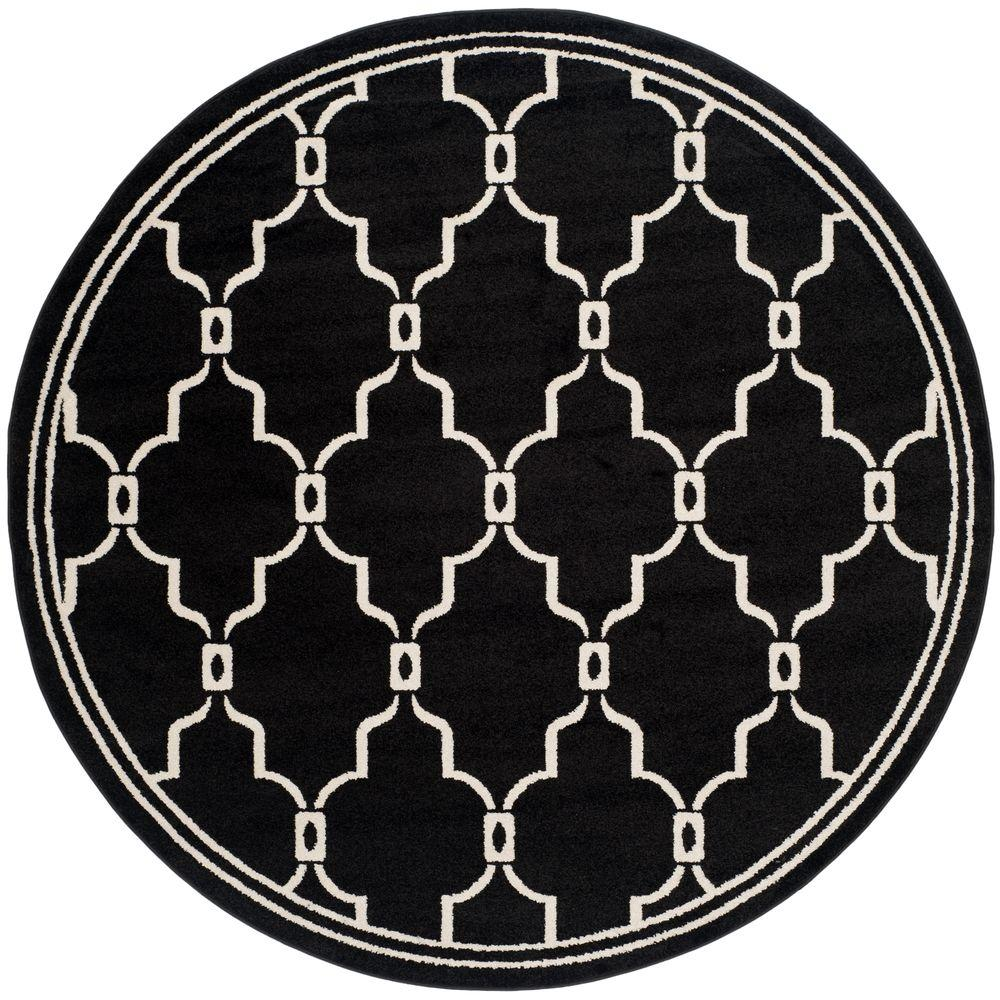 Amherst Anthracite/Ivory 7 ft. x 7 ft. Indoor/Outdoor Round Area Rug