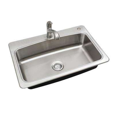 All-in-One Stainless Steel 33 in. 2-Hole Single Bowl Drop-in Kitchen Sink Kit with Faucet and Strainer