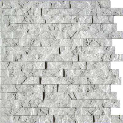 Ledge Stone 24 in. x 24 in. Crystal White PVC Wall Panel