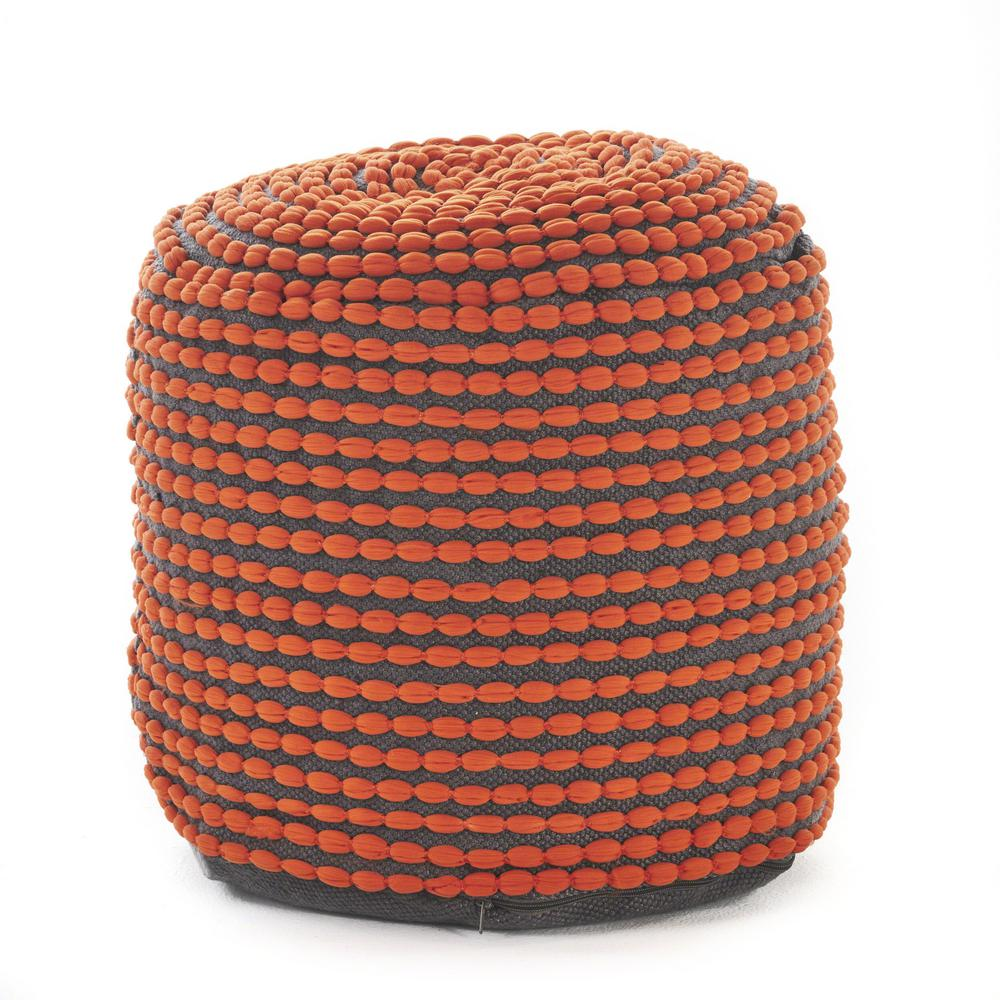 Surprising Noble House Conney Orange Fabric Round Outdoor Ottoman Pouf Gmtry Best Dining Table And Chair Ideas Images Gmtryco