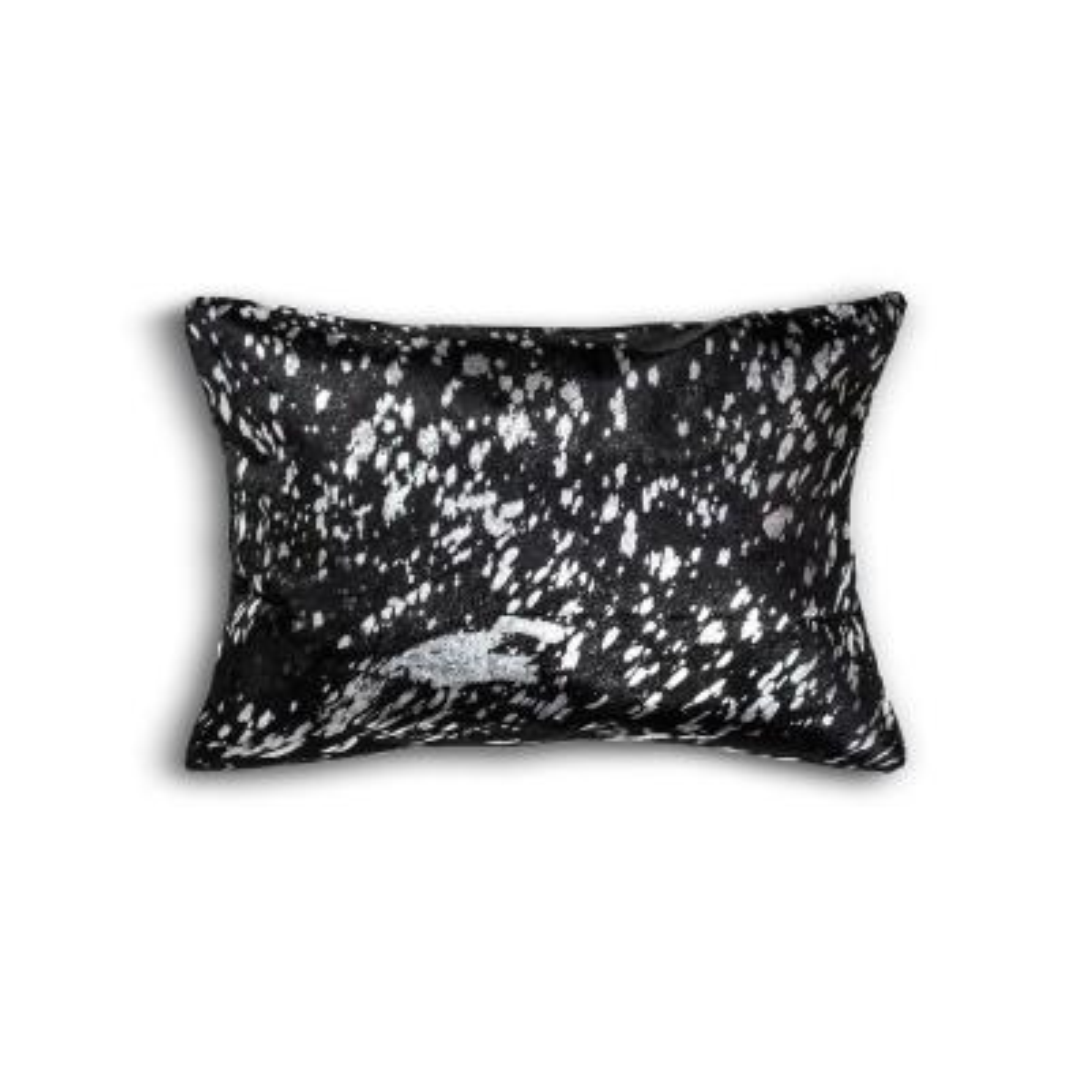 Torino Scotland Cowhide Black & Silver Animal Print 12 in. x 20 in. Throw Pillow