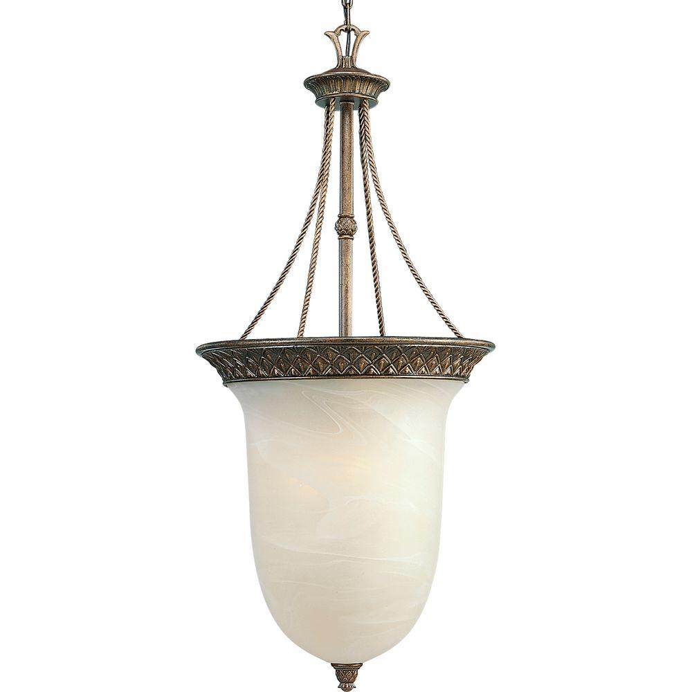 Progress Lighting Savannah Collection 3-Light Burnished Chestnut Pendant