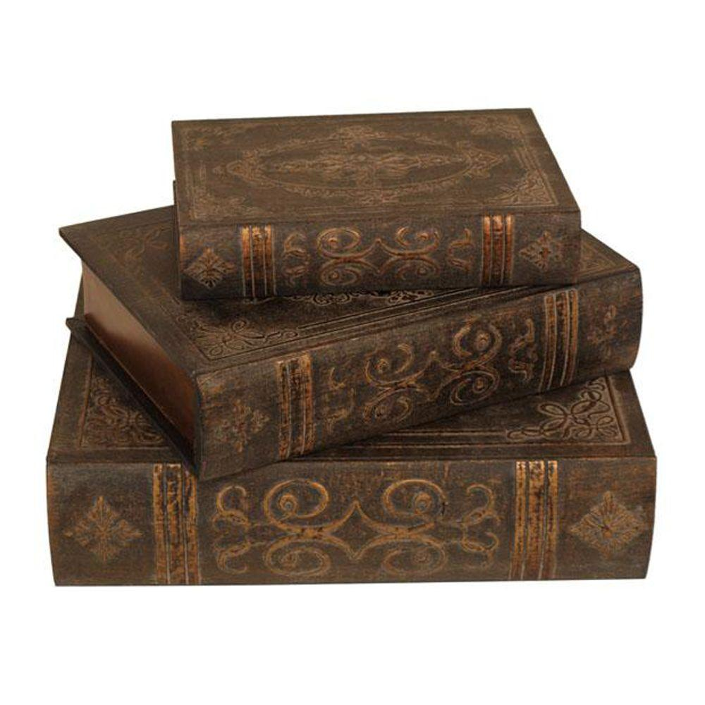 Home Decorators Collection 12 in. W Brown Traditional Book Box Set (Set of 3)