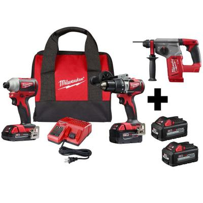 M18 18-Volt Lithium-Ion Brushless Cordless Hammer Drill/Impact/Rotary Hammer Combo Kit (3-Tool) with 4-Batteries
