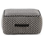 Olsen Transitional Square Pouf in Patterned Black, Ivory Cotton