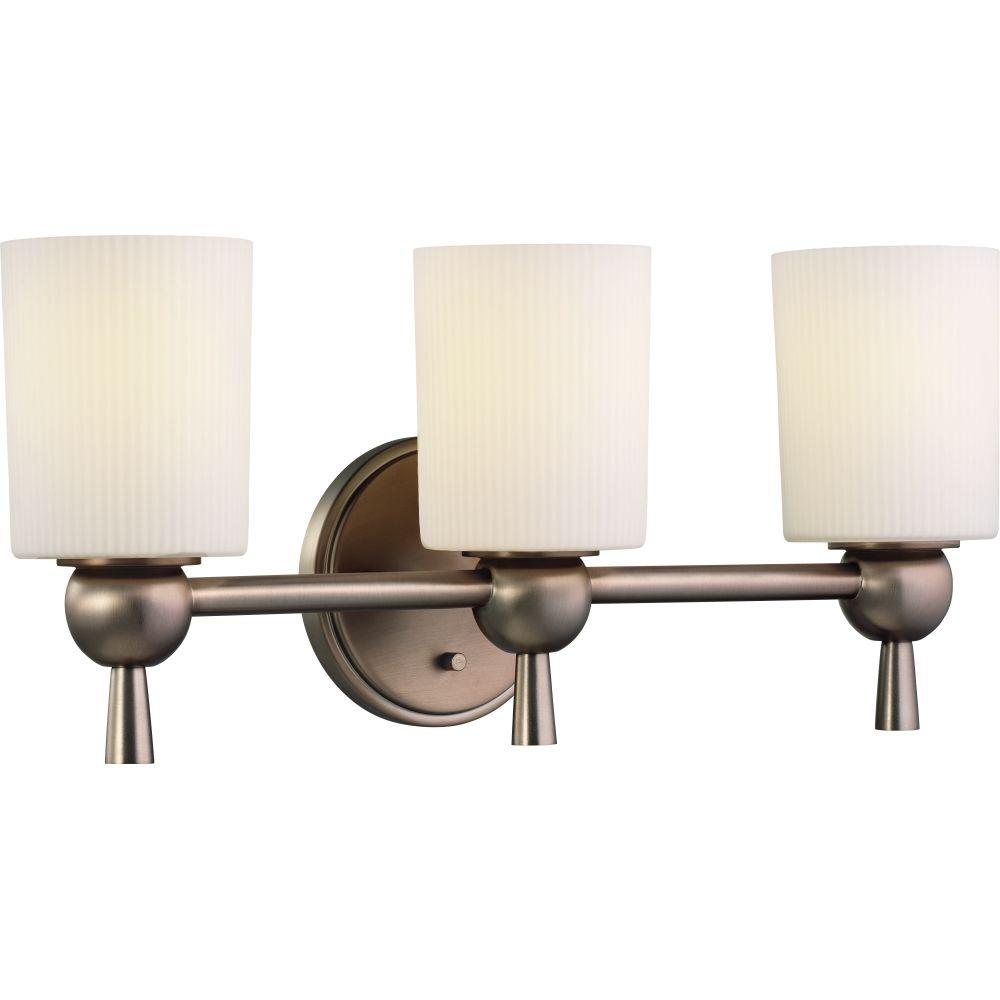 Hampton Bay Lawson Collection 3-Light Satin Bronze Finish Bath Light-DISCONTINUED