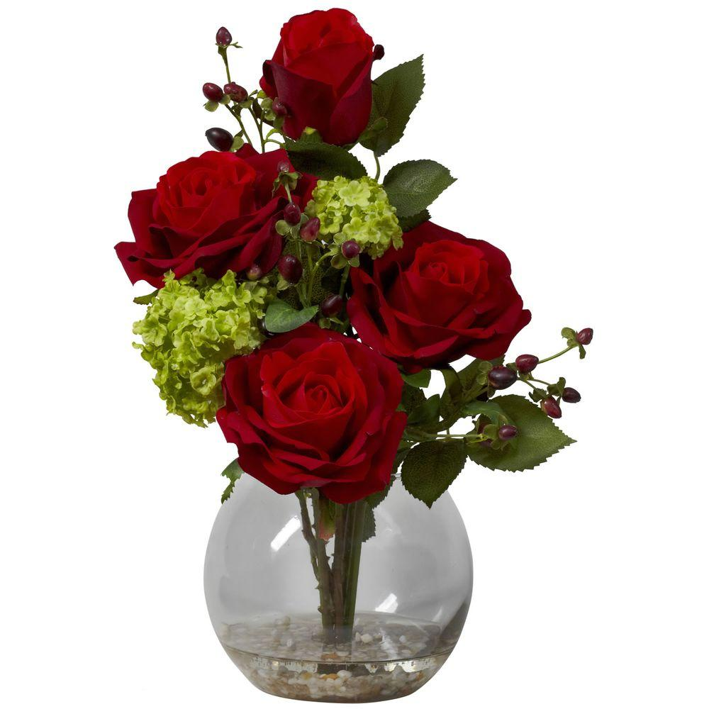 Nearly Natural 14 in. H Red Rose and Hydrangea Silk Flower Arrangement