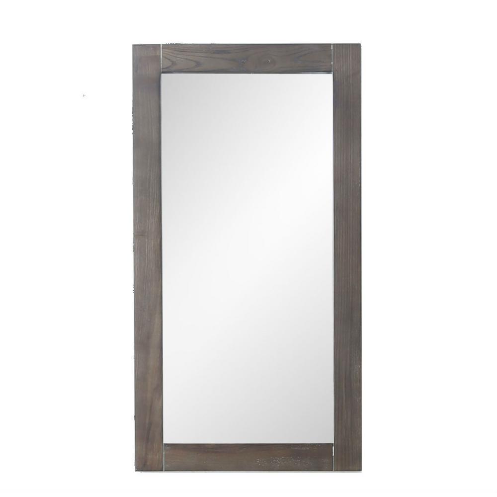13 in. W x 26 in. H Framed Rectangular Bathroom Vanity Mirror in Weathered Gray