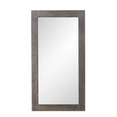 16 in. x 30 in. Framed Wall Mirror in Weathered Brown