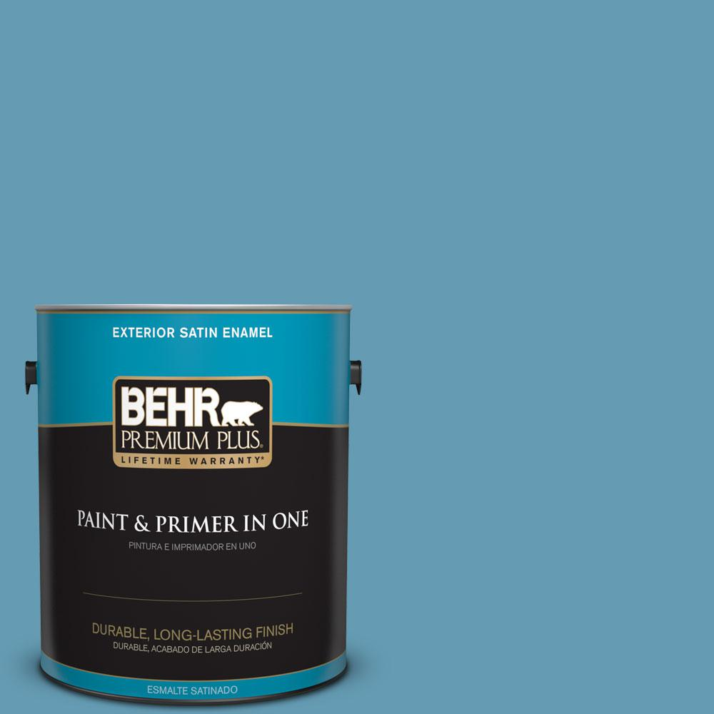 S490 4 Yacht Blue Satin Enamel Exterior Paint And Primer In One